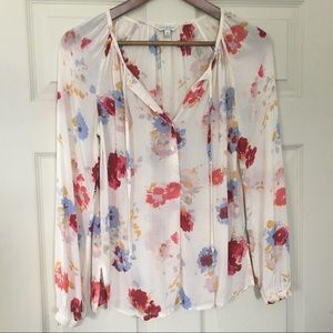 Lucky Brand floral semi-sheer blouse 👚 XS